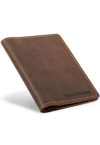 Skórzany cienki portfel slim wallet BRODRENE SW01 ciemnobrązowy. Kolor: brązowy. Materiał: skóra