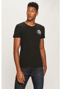 Czarny t-shirt Diesel z okrągłym kołnierzem, z nadrukiem