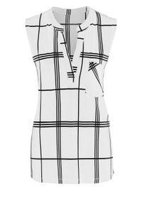 Bluzka bez rękawów w kratę bonprix biało-czarny w kratę. Kolor: biały. Długość rękawa: bez rękawów