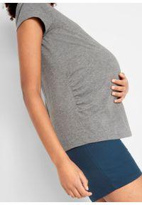 Shirt ciążowy basic (2 szt.) bonprix ciemnoniebieski + szary melanż. Typ kołnierza: dekolt w serek. Kolekcja: moda ciążowa. Kolor: niebieski. Wzór: melanż
