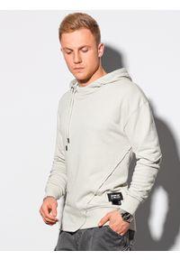 Ombre Clothing - Bluza męska z kapturem B1187 - jasnoszara - XXL. Typ kołnierza: kaptur. Kolor: szary. Materiał: poliester, bawełna