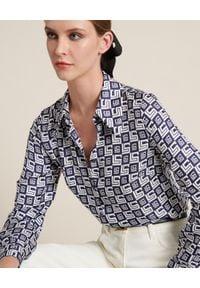 Luisa Spagnoli - LUISA SPAGNOLI - Jedwabna koszula Balcan. Kolor: niebieski. Materiał: jedwab. Długość rękawa: długi rękaw. Długość: długie. Wzór: nadruk. Sezon: lato. Styl: klasyczny, elegancki