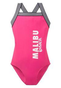 Kostium kąpielowy dziewczęcy bonprix ciemnoróżowy z nadrukiem. Kolor: różowy. Wzór: nadruk