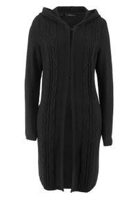 Czarny sweter bonprix długi, z kapturem