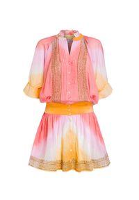 Wielokolorowa sukienka Juliet Dunn wakacyjna, z aplikacjami