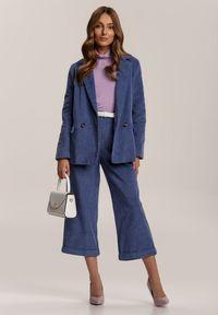 Renee - Granatowa Marynarka Jilsya. Kolor: niebieski. Materiał: tkanina, sztruks. Długość: długie