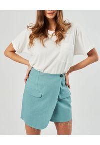 MARLU - Miętowa spódnica z zakładką Berno. Kolor: niebieski. Materiał: len