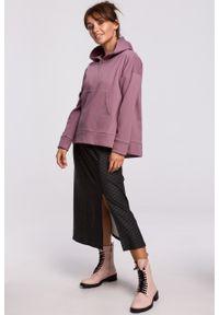 e-margeritka - Bluza bawełniana z kapturem lawendowa - l/xl. Okazja: na co dzień. Typ kołnierza: kaptur. Kolor: fioletowy. Materiał: bawełna. Długość: krótkie. Styl: casual