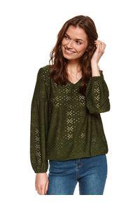 Zielona bluzka TOP SECRET z długim rękawem, długa, na co dzień, na wiosnę