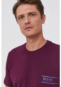 BOSS - Boss - T-shirt bawełniany. Okazja: na co dzień. Kolor: fioletowy. Materiał: bawełna. Wzór: nadruk. Styl: casual