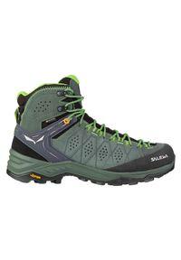 Buty trekkingowe męskie Salewa MS Alp Trainer 2 Mid GTX 61382. Zapięcie: sznurówki. Materiał: nylon, zamsz, materiał, guma. Szerokość cholewki: normalna. Technologia: Gore-Tex. Sport: wspinaczka
