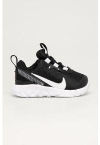 Czarne buty sportowe Nike Kids z okrągłym noskiem, z cholewką
