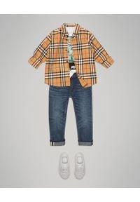 BURBERRY CHILDREN - Koszula w kratę 4-14 lat. Kolor: brązowy. Materiał: materiał. Wzór: aplikacja. Sezon: lato. Styl: klasyczny, elegancki
