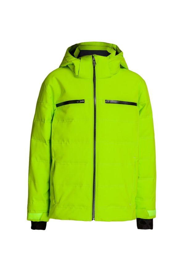 Zielona kurtka zimowa Descente w kolorowe wzory