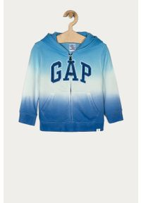 Niebieska bluza rozpinana GAP z aplikacjami, na co dzień, z kapturem, casualowa