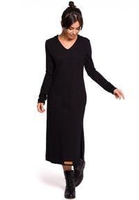 Sukienka prosta, maxi, z kapturem, na co dzień