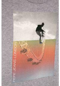 Szara koszulka z długim rękawem Pepe Jeans z nadrukiem, na co dzień