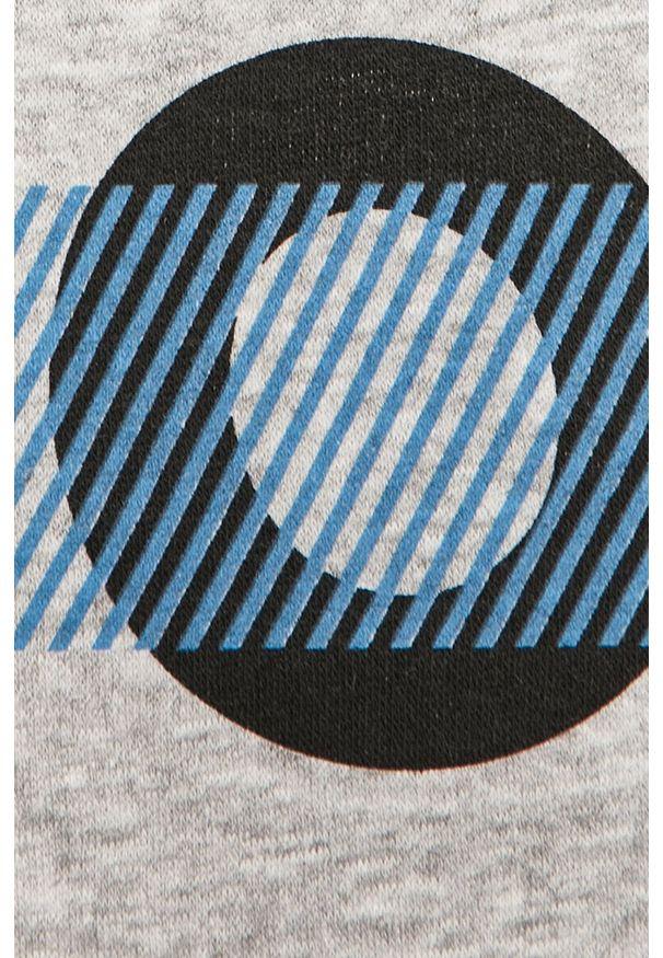 Szara bluza nierozpinana Jack & Jones casualowa, na co dzień, z kapturem, z nadrukiem