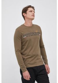 Aeronautica Militare - Longsleeve bawełniany. Okazja: na co dzień. Kolor: zielony. Materiał: bawełna. Długość rękawa: długi rękaw. Wzór: nadruk. Styl: casual
