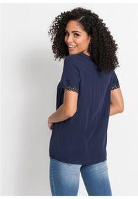 Shirt bluzkowy z ażurową koronką bonprix ciemnoniebieski. Kolor: niebieski. Materiał: koronka. Wzór: koronka, ażurowy