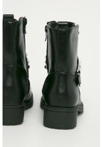 Czarne botki Answear Lab bez obcasa, na sznurówki