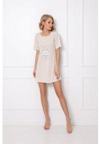 Aruelle - Koszula piżamowa Willow. Kolor: beżowy. Długość: krótkie