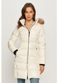 Biała kurtka Calvin Klein z kapturem, casualowa, na co dzień