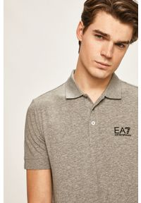 Szara koszulka polo EA7 Emporio Armani casualowa, na co dzień, z nadrukiem