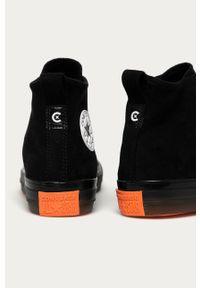 Czarne tenisówki Converse z okrągłym noskiem, na sznurówki