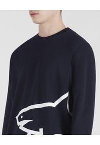 PAUL & SHARK - Granatowa bluza z nadrukiem z bawełny. Kolor: niebieski. Materiał: bawełna. Długość rękawa: długi rękaw. Długość: długie. Wzór: nadruk