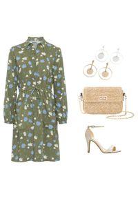 Zielona sukienka bonprix w kwiaty