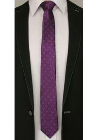Alties - Fioletowy Elegancki Męski Krawat -ALTIES- Wzór Paisley. Kolor: fioletowy. Materiał: tkanina. Wzór: paisley. Styl: elegancki