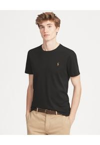 Ralph Lauren - RALPH LAUREN - Czarny t-shirt Custom Slim Fit. Typ kołnierza: polo. Kolor: czarny. Materiał: materiał, bawełna. Wzór: haft, kolorowy