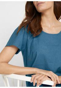 Sukienka lniana z plisą guzikową z tyłu bonprix niebieski dżins. Kolor: niebieski. Materiał: len