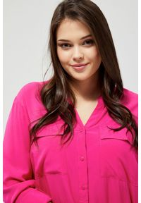 Różowa koszula MOODO długa, z długim rękawem
