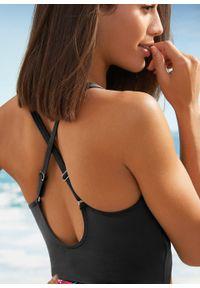 Kostium kąpielowy shape Level 1, przyjazny dla środowiska bonprix czarny z nadrukiem. Kolor: czarny. Wzór: nadruk