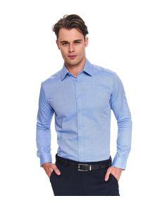 TOP SECRET - Koszula strukturalna o dopasowanym kroju. Kolor: niebieski. Materiał: tkanina. Długość rękawa: długi rękaw. Długość: długie. Wzór: gładki, ze splotem. Sezon: zima, jesień. Styl: elegancki