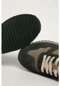 Brązowe buty sportowe Blauer z okrągłym noskiem, z cholewką, na sznurówki, na średnim obcasie