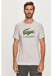Szary t-shirt Lacoste na co dzień, z aplikacjami, z okrągłym kołnierzem, casualowy