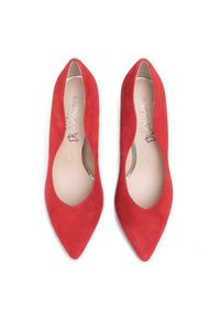Czerwone półbuty Caprice z cholewką, eleganckie