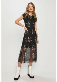 Czarna sukienka Desigual na co dzień, w kwiaty