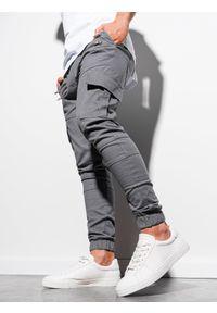 Ombre Clothing - Spodnie męskie joggery P1000 - szare - XXL. Kolor: szary. Materiał: elastan, bawełna