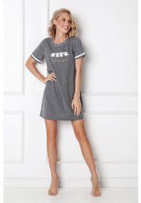 Aruelle - Koszula nocna EMMA. Kolor: szary. Materiał: dzianina. Długość: krótkie. Wzór: nadruk