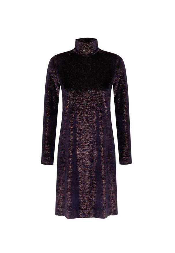 Deha - Sukienka DEHA HARMONIC. Typ kołnierza: golf. Materiał: welur. Wzór: aplikacja. Typ sukienki: w kształcie A