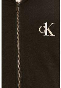 Czarna bluza rozpinana Calvin Klein Underwear raglanowy rękaw, melanż, z kapturem