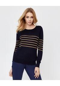 FAY - Granatowy sweter z wełny dziewiczej. Kolor: niebieski. Materiał: wełna. Długość rękawa: długi rękaw. Długość: długie. Wzór: aplikacja. Sezon: jesień, zima
