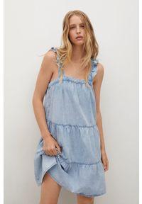mango - Mango - Sukienka bawełniana SIBILA. Kolor: niebieski. Materiał: bawełna. Długość rękawa: na ramiączkach. Typ sukienki: rozkloszowane