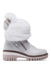 Białe buty trekkingowe New Italia Shoes z cholewką, klasyczne