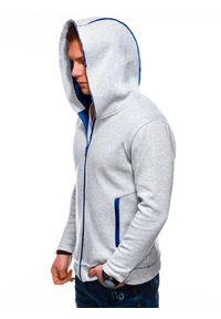 Ombre Clothing - Bluza męska rozpinana z kapturem B1209 - szara - XXL. Typ kołnierza: kaptur. Kolor: szary. Materiał: bawełna, poliester