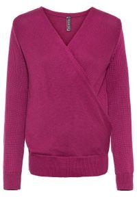 Fioletowy sweter bonprix z kopertowym dekoltem